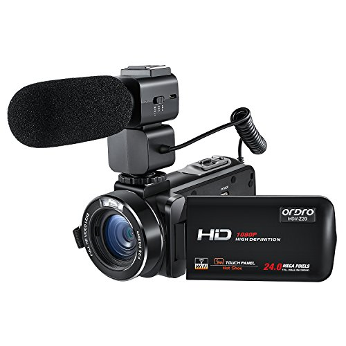 ORDRO Wifi Camcorder 1080P Full HD Digital Video Camera with External Microphone (HDV-Z20)