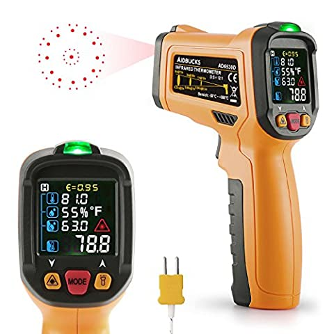 Infrared Thermometer Janisa AD6530D Digital Laser Non Contact IR Temperature Gun -58°F to 1472°F With Color Display K-Type thermocouple for Kitchen Cooking BBQ Automotive and - Infared Thermometer