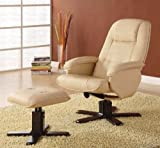 Cheap Lounge Chair With Ottoman In Ivory Bonded Leather