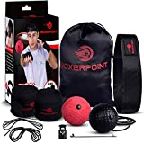 BOXERPOINT Boxing Reflex Ball for Adults and Kids - React Reflex Balls on String with Headband, Carry Bag and Hand Wraps - Improve Hand Eye Coordination, Punching Speed, Fight Reaction