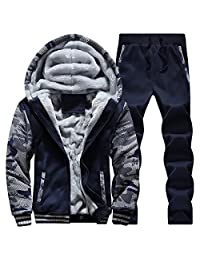 Eleter Winter Men's Camouflage Casual Hooded Zipper Outwear Coat Set
