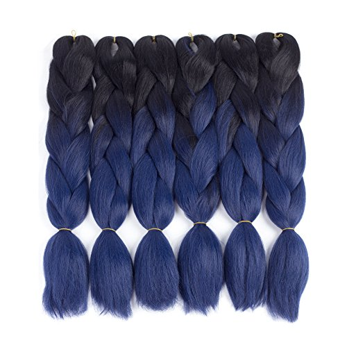 Dingxiu (3Packs,24inch) Ombre Braiding Hair Extensions Afro Jumbo Braids Synthetic Fiber Hair Two Tone Twist Braiding hair 100g/Pack (Black-Dark Blue)