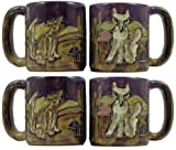Set Of Four (4) MARA STONEWARE COLLECTION - 16 Oz Coffee Cup Collectible Mugs With Countertop Mug Post Stack - Coyote Desert Cactus Design