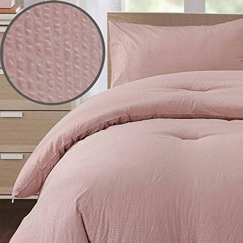 Seersucker Queen Comforter Set 3PC All Season Reversible Down Alternative Quilted Duvet Insert, Hypoallergenic Microfiber Filling, Luxury Hotel Quality Bedding Sets in a Bag, Size 90 inch, Mauve Coral