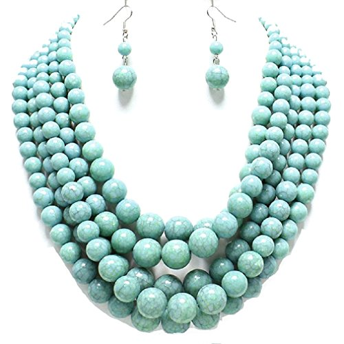 Statement Layered Strands Turquoise Stone-simulated Pearl Beads Necklace Earrings Set Gift (Layered Stone)