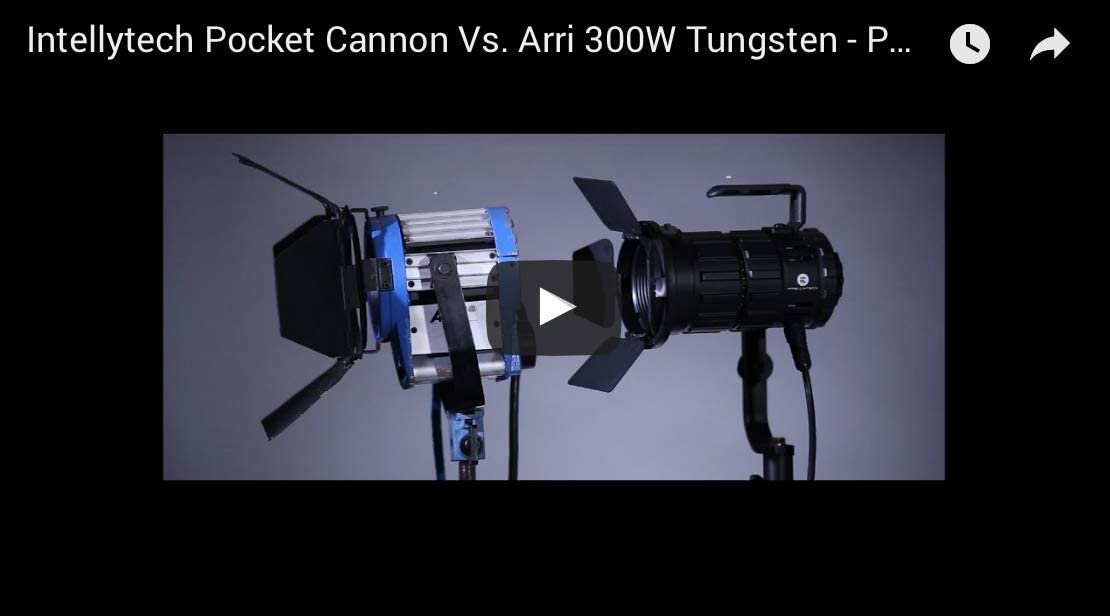Intellytech Pocket Cannon + Gold Mount//V-Mount Adapter Plate 3 Light Kit Focusable LED Fresnel
