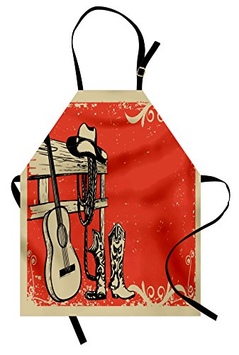 Ambesonne Western Apron, Image of Wild West Elements with Country Music Guitar and Cowboy Boots Retro Art, Unisex Kitchen Bib Apron with Adjustable Neck for Cooking Baking Gardening, Beige (No Country For Old Men Costume)