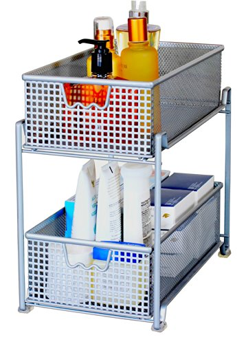 Amazon.com: DecoBros 2 Tier Mesh Sliding Cabinet Basket Organizer ...