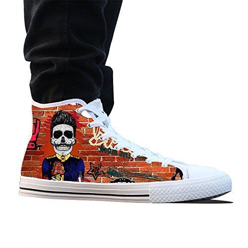 Canvas Schoenen, Custom Street Artisc Hoge Top Heren Witte Klassieke Casual Mode Canvas Sneakers