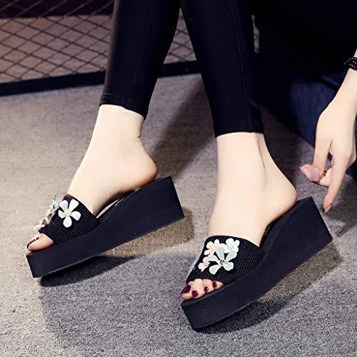 Tacones Zapatillas Flores Canifon Altos Moda Perla Exteriores Mujer De Zapatos Playa Negro Plataforma Z8gvBA