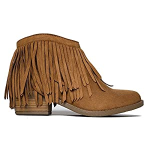 Soda Women's Jervis British Tan Faux Suede Double Fringe Moccasin Ankle Boots (10)