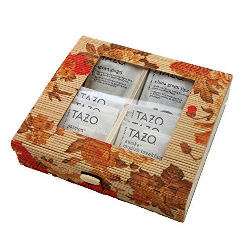 Bamboo Storage Tea Box - Tazo Tea Set, 20 Tazo Tea Bags, 10