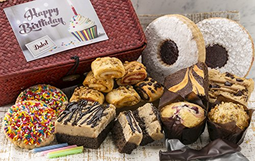 Dulcet's Happy Birthday Wicker Gift Basket Includes Linzar and Sprinkle Cookies,Crumb Cake, Muffins, Blondie, Walnut Brownie, Assorted all flavor rugelach, with balloons, and candles! Best Gift Idea
