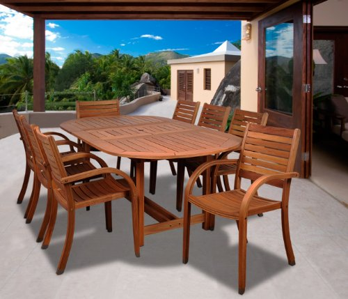 Amazonia Arizona 9 piece Oval Outdoor Dining Set Eucalyptus Wood | Durable and Ideal for Patio And Backyard, Light Brown - DIMENSIONS: This set includes 1 Oval Extendable Table 71L x 43W x 29H.  with an extended length of 93.8. Stacking Armchairs 23W x23D x 36H. VERSATILE DINING SET: 9-Piece patio Dining  set perfect for outdoors and indoors. Ideal for patios, gardens, terraces and poolside. Chairs are completely stackable and Table has a 2-inch umbrella hole for a great functionality EASY ASSEMBLY AND MANTENANCE: Chairs are shipped completely assembled while table require some assembly actions. Product includes a complete maintenance kit for FREE.  This kit includes: a wood cleaner, brush, gloves, sponge, emery paper, paint brush, Cotton cloth, and wood sealer oil. Improve furniture performance using kit maintenance every summer season or as often as desired - patio-furniture, dining-sets-patio-funiture, patio - 51K47LcbvzL -