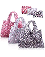 Finex - Set of 3 - Foldable Reusable Tote Recycle Shopping Bag - Lightweight Portable Large Capacity