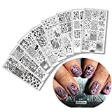 8pcs Star Love Heart Nail Stamping Plates Leaves Flowers Pattern Nail Art Stamp Stamping Template Diamond Rring Nail Image Plate Geometric Print Stencil