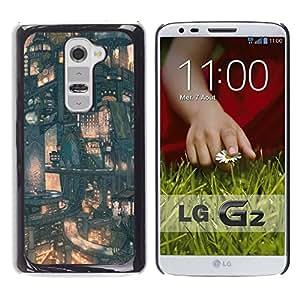 CASER CASES / LG G2 D800 D802 D802TA D803 VS980 LS980 / Japanese Future City Pattern / Delgado Negro Plástico caso cubierta Shell Armor Funda Case Cover