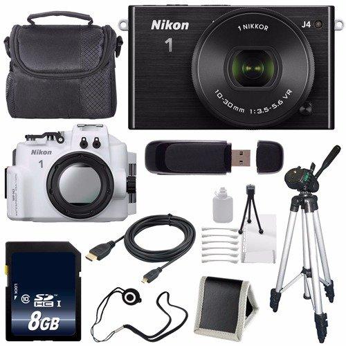 Nikon 1 J4 Mirrorless Digital Camera 10-30mm Lens (Black) (International Model) + Nikon WP-N3 Waterproof Housing + 8GB SDHC Memory Card + Bundle