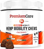 PREMIUM CARE Glucosamine for Dogs with Organic Hemp - Advanced Hemp Hip & Joint Supplement for Dogs - Supports Healthy Joint Function and Helps with Pain Relief - 120 Count Made in USA