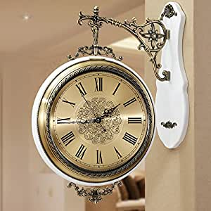 Metal 2 Sided Wall Clock Mute Living Room Wall Chart On Both Sides Of The Wall Clock