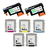 ESTON 2 PACK 940 Printhead Replacement for HP940 Print Head C4900A C4901A & 5 PACK (2BK C M Y) HP940XL High Yield Ink Cartridge (Combo Pack)