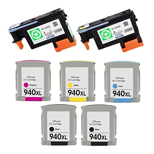 940 Combo Pack - ESTON 2 PACK 940 Printhead Replacement for 940 Print Head C4900A C4901A & 5 PACK (2BK C M Y) 940XL High Yield Ink Cartridge (Combo Pack)