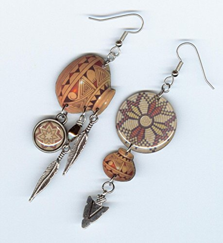 Pottery Indian Native (Southwestern art earrings pottery coiled basket feather arrowhead)