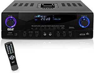 Home Audio Power Amplifier System - 500W 4 Channel Theater Power Stereo Sound Receiver Box Entertainment w/ USB, RCA, AUX, MIC w/ Echo, LED, Remote - For Speaker, iPhone, Studio Use - Pyle PT4601AIU