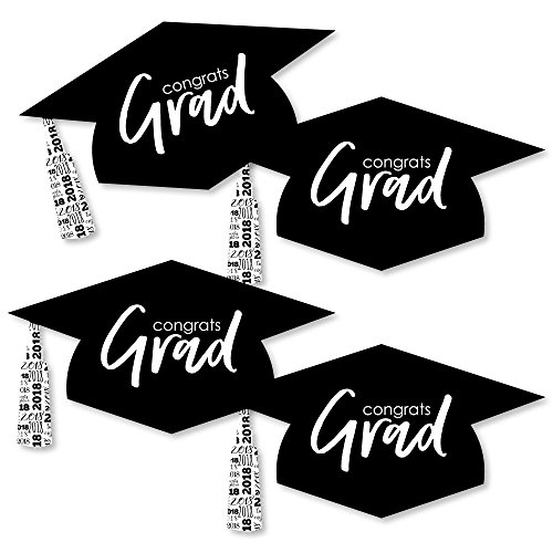 Black & White Grad Hat - Best is Yet to Come - Graduation Hat Decorations DIY Black and White 2018 Graduation Party Essentials - Set of 20