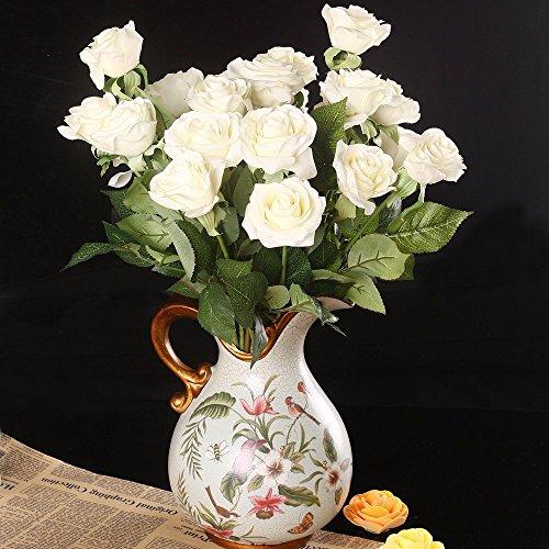 Wholesale Artificial Silk Latex Rose Flowers Wedding Bouquet Bridal Decoration Bundles Real Touch Flower Bouquets Realistic Flower Bouquet The Light Color Rose Bouquet – Dozen Pack (Cream Ivory, one
