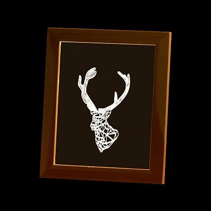 Amazon com: Ornerx 3D Illusion Lamp Wood Photo Frame LED