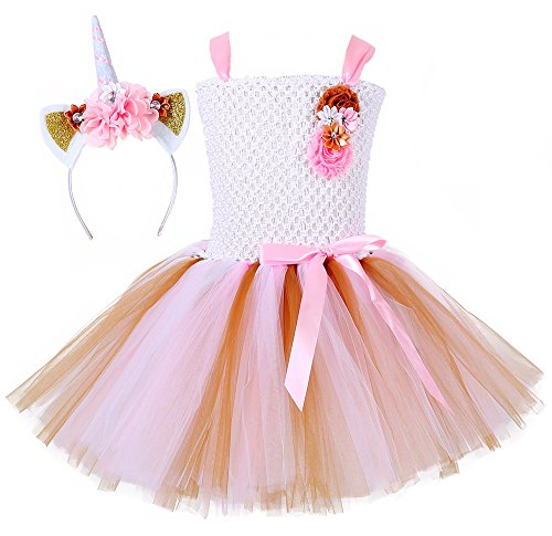 Tutu Dreams Unicorn Costumes for Girls with Headband Birthday Party Valentine's Day (White, Medium)