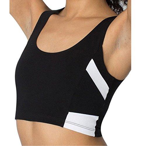 Sport BH Chaleco HARRYSTORE Mujer sosténes deportivas de yoga cómoda y elástico Ropa interior Push Up Camisetas sin mangas para correr Fitness Negro