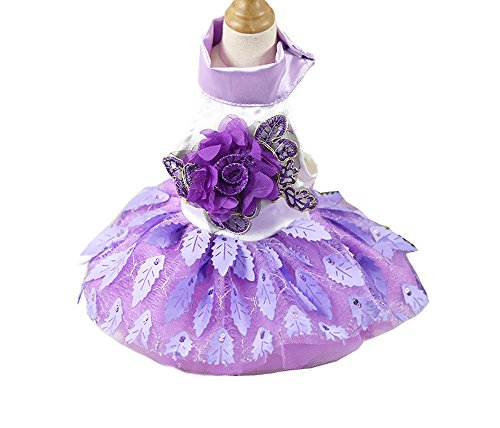 BBEART Pet Clothes, Small Dogs Sweet Princess Skirt Girl Tutu Clothing Puppy Cat Sleeveless Apparel Pussy Teddy Clothes Harness Wedding Dresses for Spring and Summer (M, Purple) ()