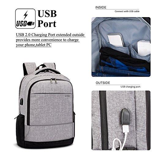 DTBG 17.3 Zoll Laptop Rucksack Wasserdicht Nylon Arbeit Rucksack College Schultertaschen Wandern Rucksack mit USB Port passen 17 - 17,3 Zoll Laptop / Notebook Schwarz