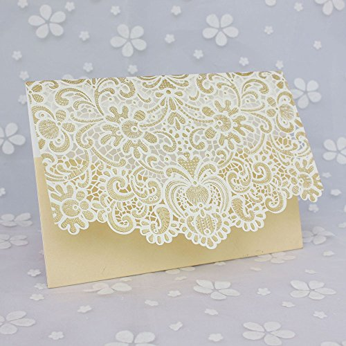 50 Pcs Exquisite Wedding Invitations Cards Lace and Hollow Pattern Cards Kits for Wedding Bridal Shower Birthday-Gold