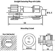 KKmoon Conectores impermeables SP13 IP68 Circular Socket 13mm 2Pin 3Pin 4Pin 6Pin 7Pin 9Pin Enchufe multipolo