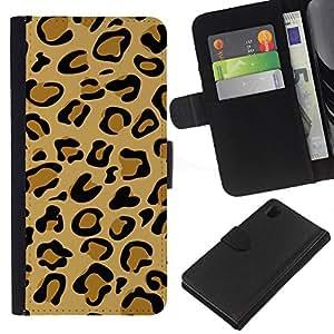Sony Xperia Z1 / L39h / C6902 Modelo colorido cuero carpeta tirón caso cubierta piel Holster Funda protección - Puma Pattern Beige Golden Brown Fur