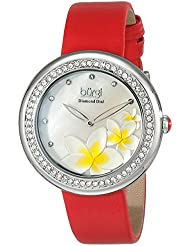 Burgi Womens BUR116RD Diamond-Accented Silver-Tone Watch with Red Satin Band