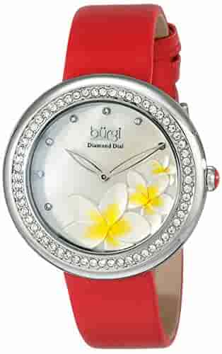 Burgi Women's BUR186 Series Floral Print Watch with Rose Gold & Black Leather Strap - Packed in a Beautiful Gift Box