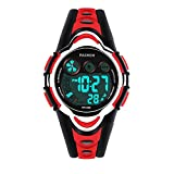 Boys Watches, PASNEW Cool Design Lightweight Waterproof Digital Sports Kids Watch Age 5-12 Red