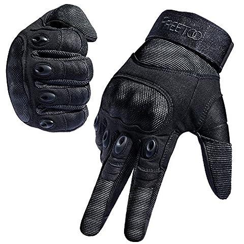 FREETOO Tactical Gloves Military Rubber Hard Knuckle Outdoor Gloves for Men Full Finger Gloves Black - Special Build Part