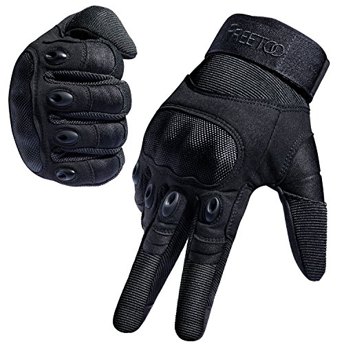 FREETOO Tactical Gloves Military Rubber Hard Knuckle Outdoor Gloves for Men Full Finger Gloves Black (M) - Black Leather Riding Gloves