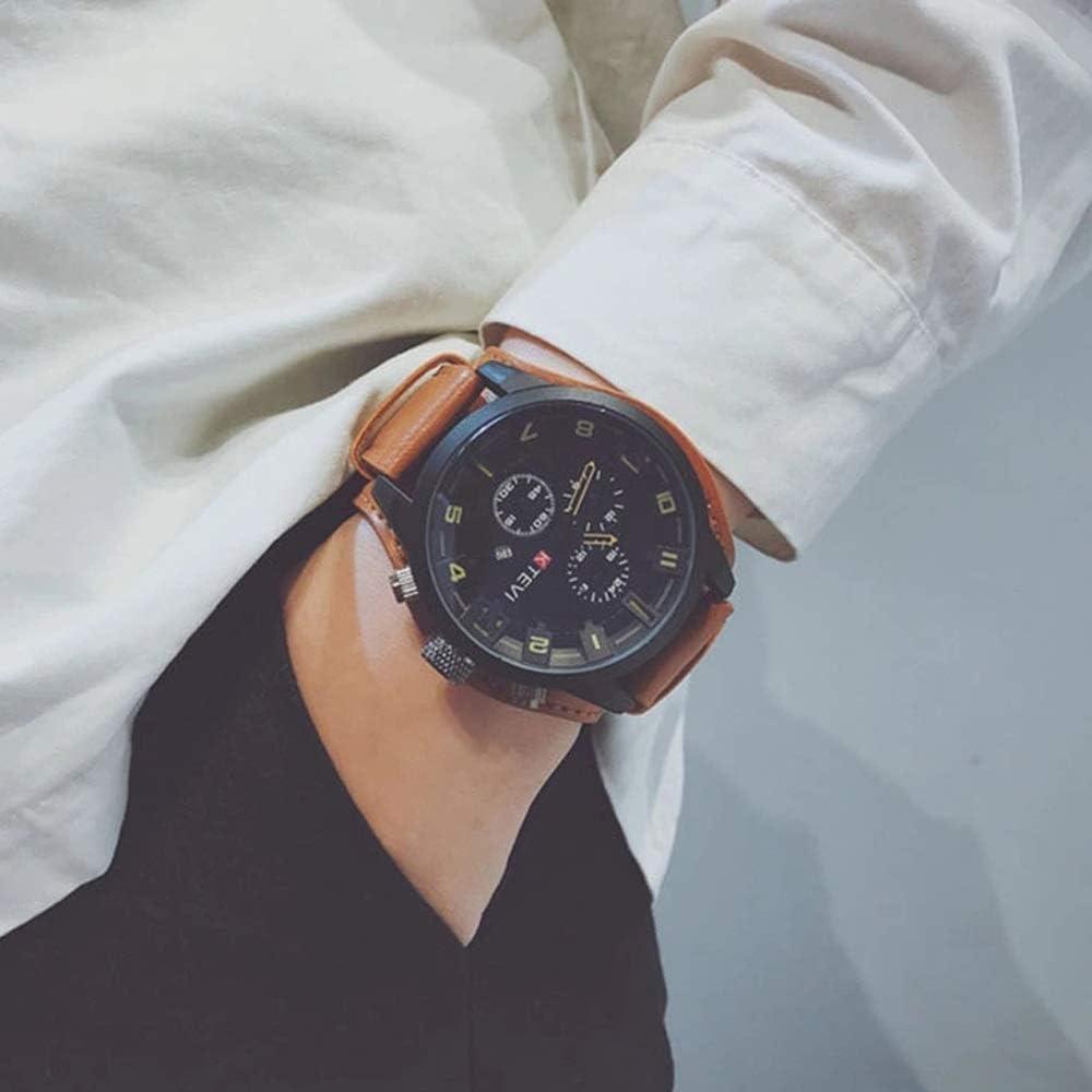 Yikuo Correa De Cuero para Hombres/Reloj Deportivo/Trend Big Dial/Reloj Impermeable Multifunción Delicado (Color : Orange)