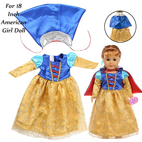 Fiaya 18 inch Our Generation for American Girl Doll Clothes Christmas Beautiful Princess Dress Halloween Costume