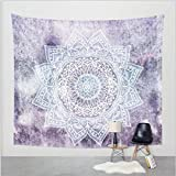 "Purple Flower Indian Mandala Psychedelic Tapestry Wall Art Hanging Tapestry Dorm Decor Picnic Mat (51""H x 60""W, Purple)"