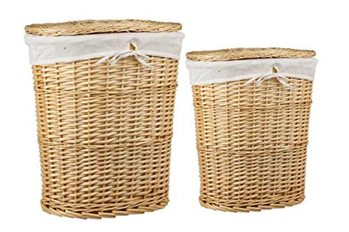 (Sunbeam Home Basics 2 Piece Wicker Laundry Hamper Set with Liner (Natural))