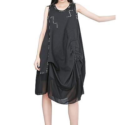 ELLAZHU Women's Summer Sleeveless Cotton T-shirt Dress Flowy Dresses GY1773 Black at Women's Clothing store