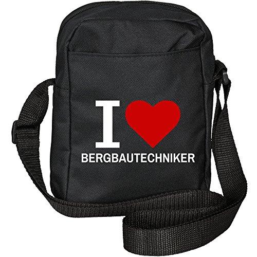 Umhängetasche Classic I Love Bergbautechniker schwarz
