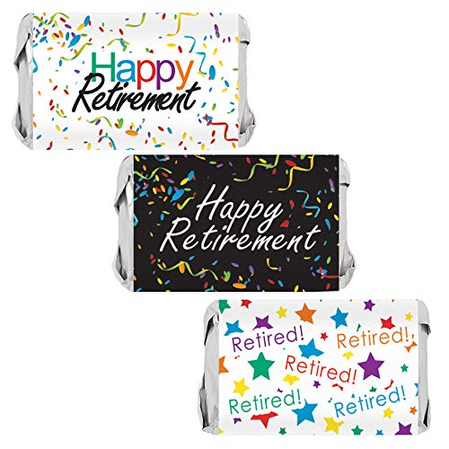 - Retirement Party Mini Candy Bar Wrappers - 45 Stickers